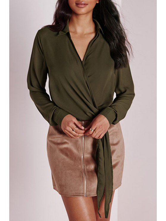 fancy Tie Knot Army Green Blouse - ARMY GREEN S