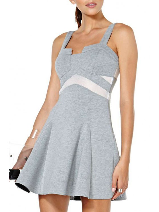 shop Color Block Flouncing Sleeveless Dress - GRAY S