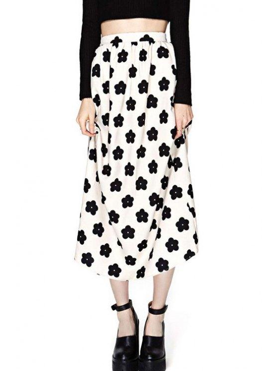 women Full Flower Print High Waisted Skirt - WHITE AND BLACK S