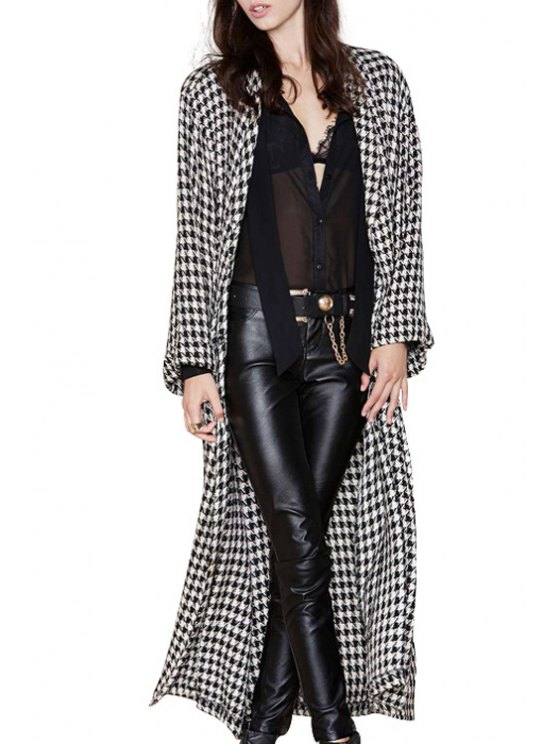women Houndstooth Turn Down Collar Long Sleeve Coat - AS THE PICTURE S