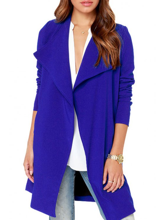online Blue Turn Down Collar Long Sleeve Coat - BLUE S