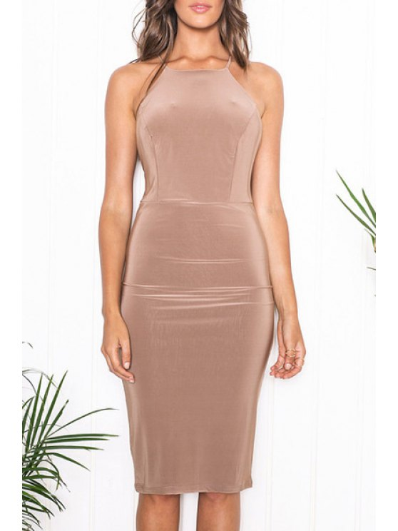 women's Solid Color Sleeveless Spaghetti Strap Cross Dress - KHAKI S