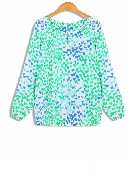 chic Heart Pattern Long Sleeves Round Collar Chiffon Blouse - BLUE AND GREEN ONE SIZE(FIT SIZE XS TO M)