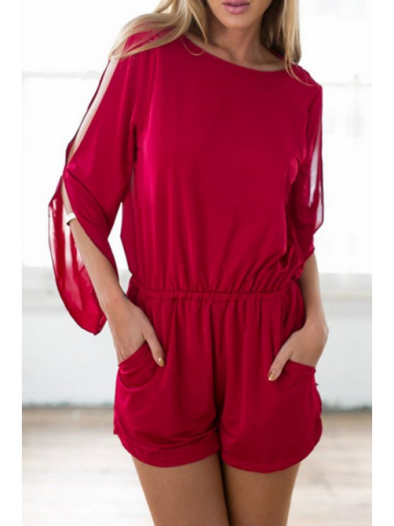 latest Split Sleeve Hollow Back Red Romper - RED S