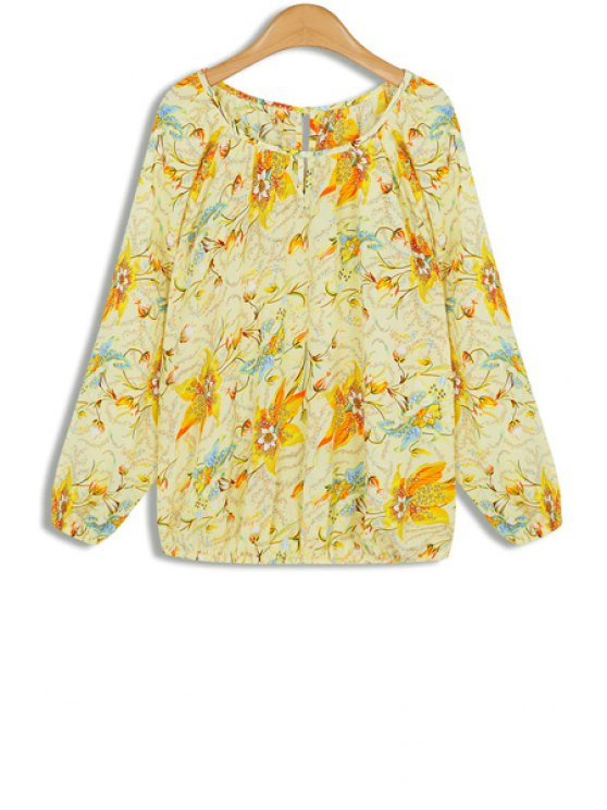 sale Flower Print  Long Sleeves Round Collar Chiffon Blouse - YELLOW ONE SIZE(FIT SIZE XS TO M)