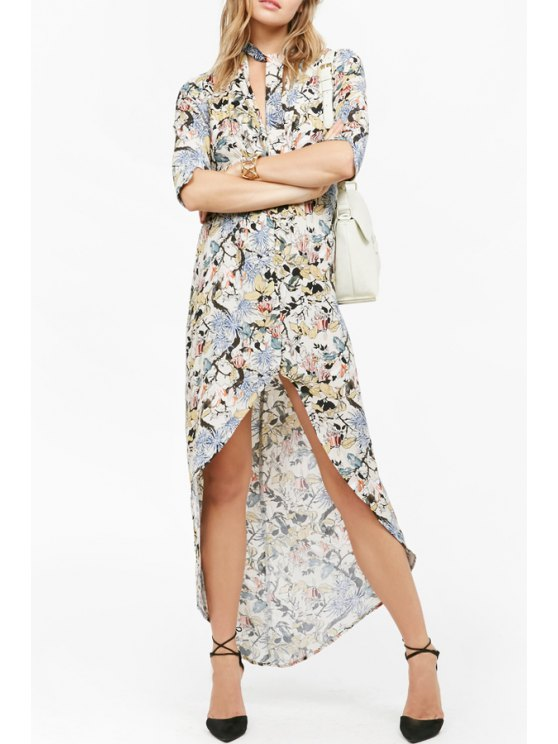 womens Colorful Floral Print High Low Half Sleeve Dress - COLORMIX S