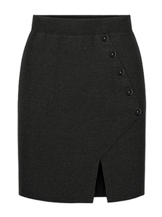 fashion Side Slit Knitted Midi Skirt - BLACK ONE SIZE(FIT SIZE XS TO M)