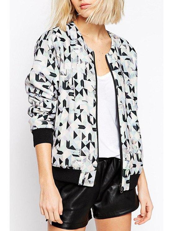 lady Jewel Neck Geometric Print Long Sleeve Coat - WHITE XS