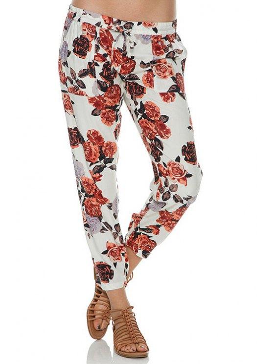shops Tie-Up Floral Print Pants - WHITE L
