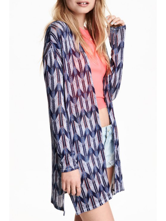 women's Geometric Print Long Sleeve Cardigan - AS THE PICTURE S