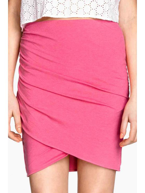 online Ruched Solid Color Bodycon Skirt - CERISE S