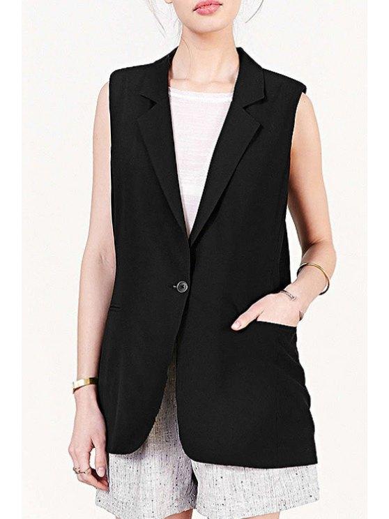 outfits Lapel Black One Button Sleeveless Waistcoat - BLACK XS