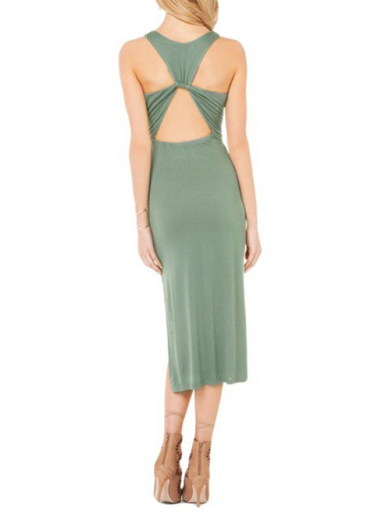 chic Green Backless Round Neck Sleeveless Dress - GREEN S