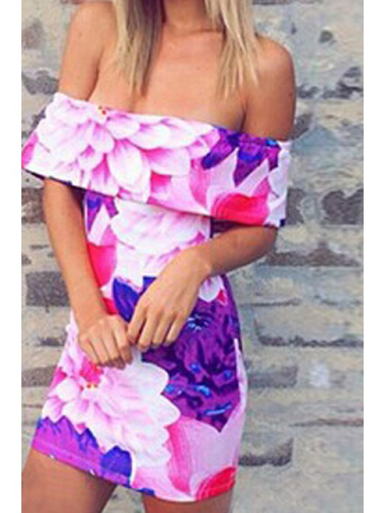 latest Off-The-Shoulder Floral Bodycon Dress - COLORMIX S