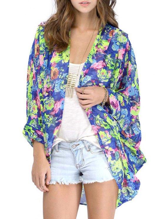 new Floral Kimono Chiffon Blouse - COLORMIX S