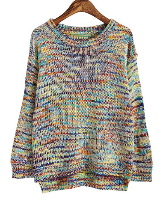fashion Colorful Round Collor Long Sleeves Pullover Sweater - COLORFUL ONE SIZE(FIT SIZE XS TO M)