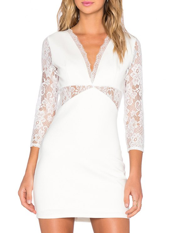 women's Hollow Back Lace Patchwork Dress - WHITE S
