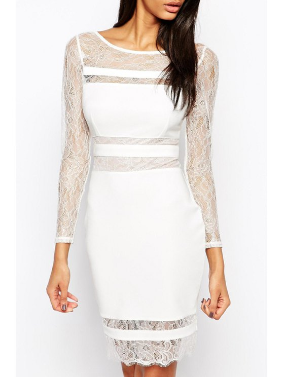 online Lace Patchwork See-Through Dress - WHITE M