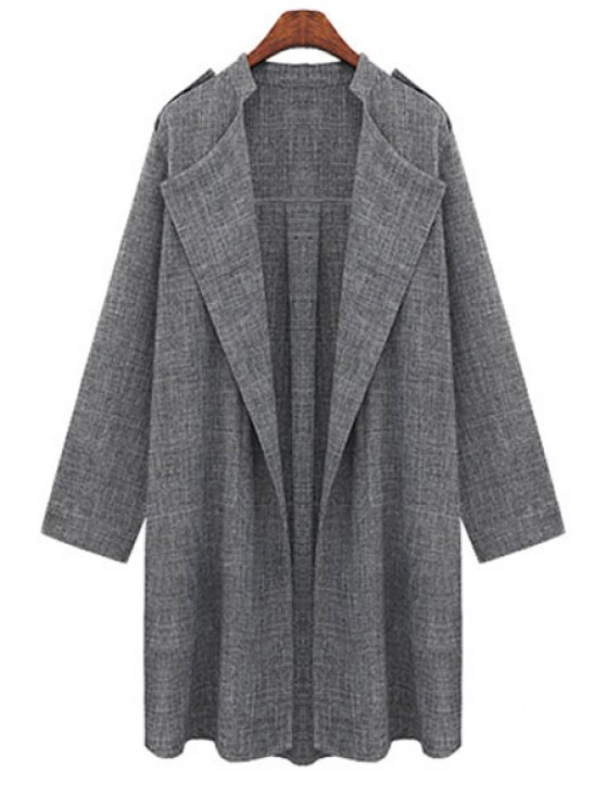 Gray Plus Size Trench Coat - Gris 2XL