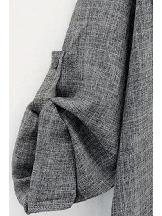 Gray Plus Size Trench Coat - GRAY 2XL Mobile