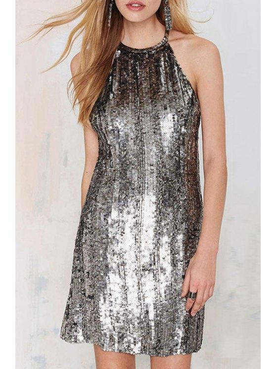 women's Silver Sequins Sleeveless Dress - SILVER S