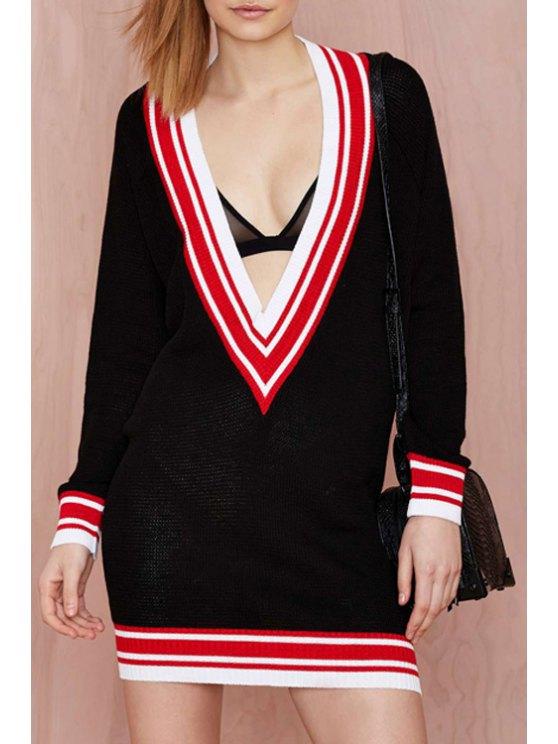 ladies Plunging Neck Color Block Stripe Long Sleeve Dress - BLACK S