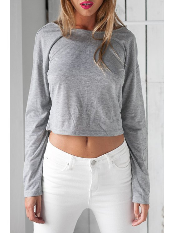 shop Long Sleeve Low Back Crop Top - GRAY S