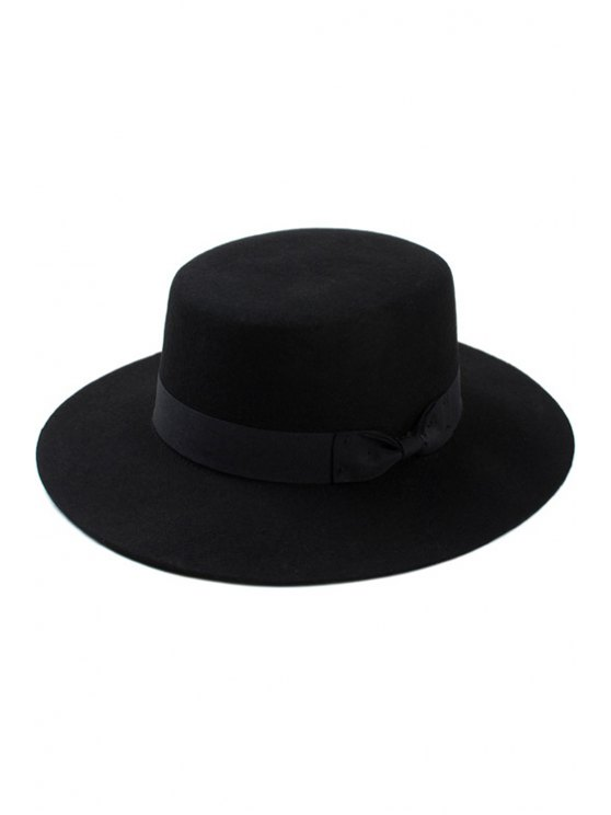 fashion Bow Felt Jazz Hat - BLACK