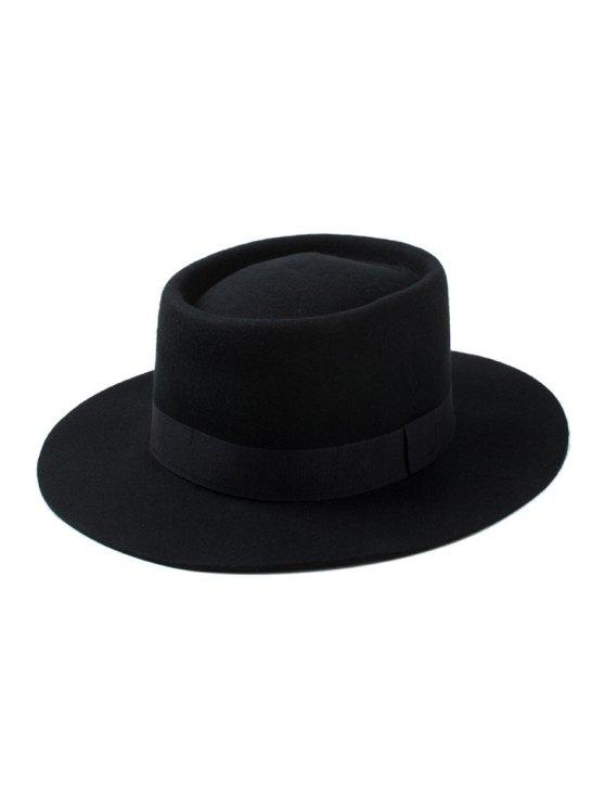 chic Solid Color Felt Fedora - BLACK