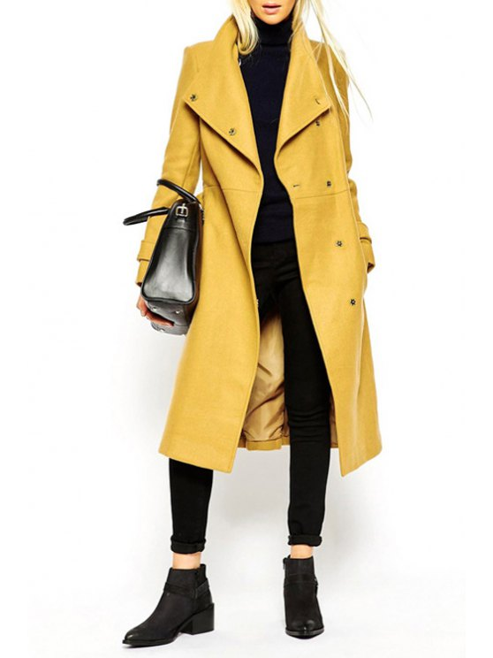 new Turn-Down Collar Belt Tie-Up Trench Coat - YELLOW S