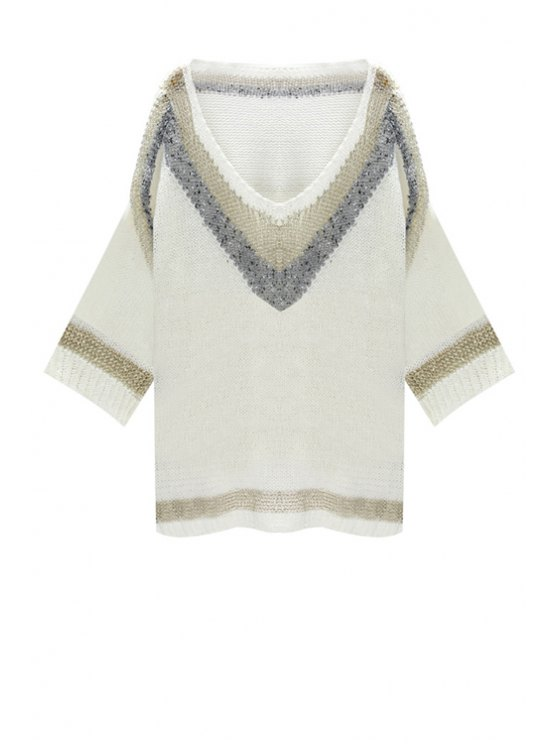 womens Golden Stripes Side Slit Sweater - WHITE ONE SIZE(FIT SIZE XS TO M)