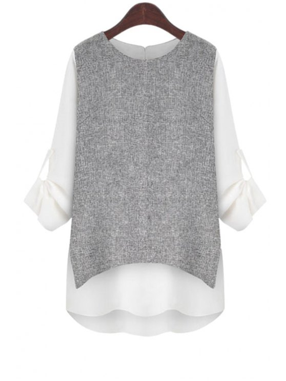 trendy Rolled Sleeve Layered T-Shirt - WHITE S