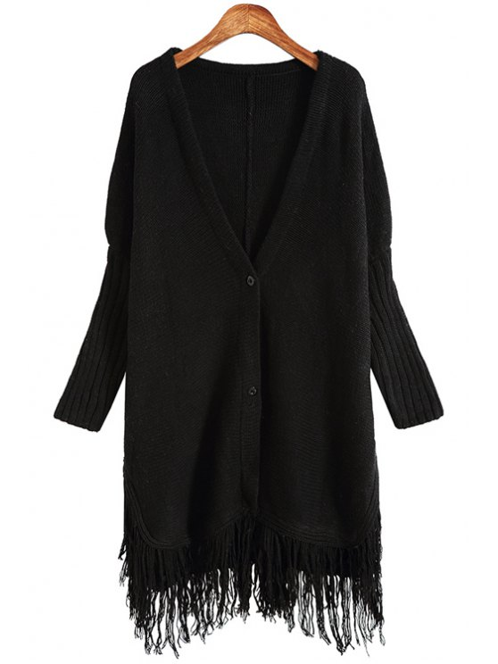 buy Solid Color Plunging Neck Long Sleeves Long Cardigan - BLACK ONE SIZE(FIT SIZE XS TO M)