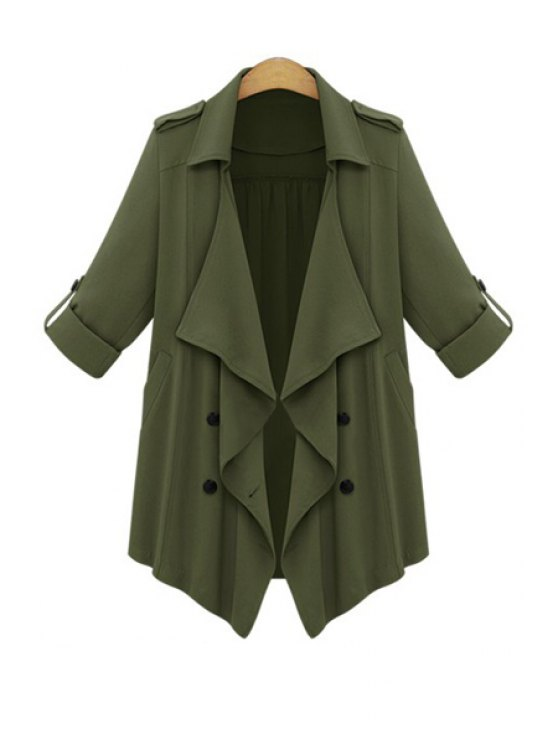 shops Rolled Sleeve Double-Breasted Trench Coat - ARMY GREEN S