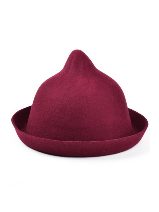 online Bellying Top Flanging Felt Hat - WINE RED