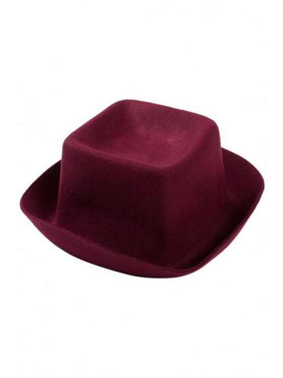 unique Cube Shape Flanging Felt Hat - WINE RED