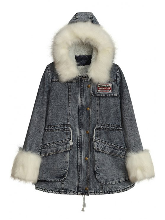 latest Denim Hooded Woolen Loose-Fitting Coat - GRAY ONE SIZE(FIT SIZE XS TO M)