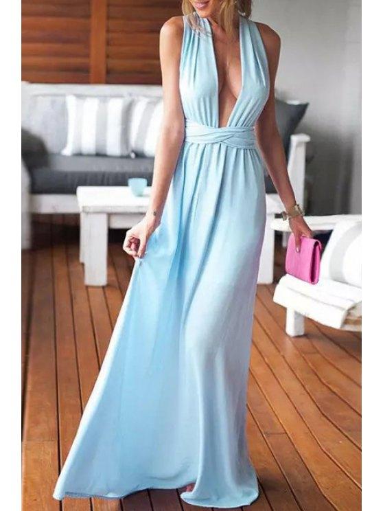 shops Sleeveless Hollow Back Convertible Dress - AZURE S