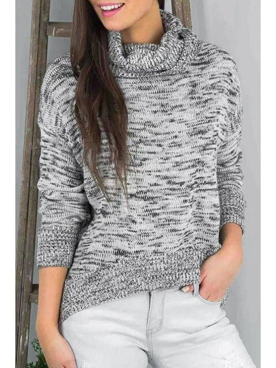 ladies Turtle Neck Irregular Hem Sweater - GRAY ONE SIZE(FIT SIZE XS TO M)