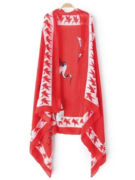 fashion Red-Crowned Crane Print Pashmina - RED