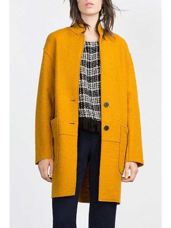 online Pure Color Lapel Long Sleeve Pocket Coat - YELLOW M
