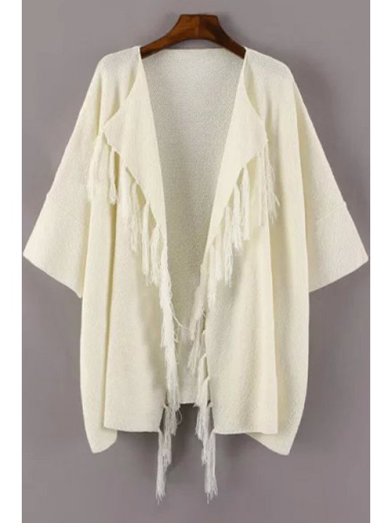 chic Open Front Tassels Cardigan - WHITE ONE SIZE(FIT SIZE XS TO M)