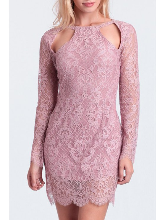 shops Hollow Out Lace Long Sleeve Dress - PINK S