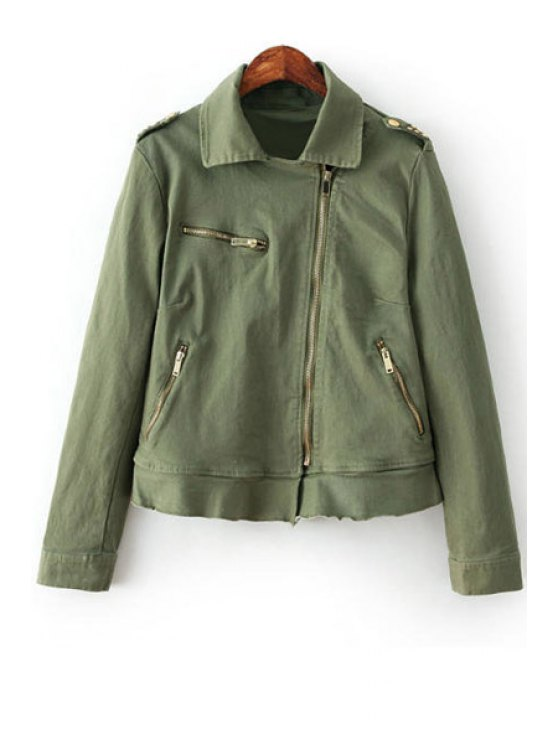 hot Army Green Lapel Collar Long Sleeve Jacket - ARMY GREEN S