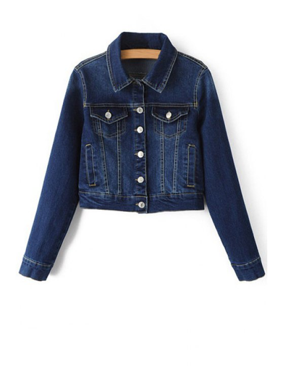 shop Blue Denim Turn Down Collar Deep Jacket - DEEP BLUE S