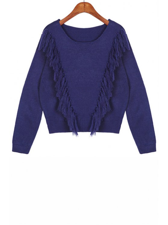 lady Solid Color Round Collar Long Sleeves Pullover Sweater - DEEP BLUE ONE SIZE(FIT SIZE XS TO M)