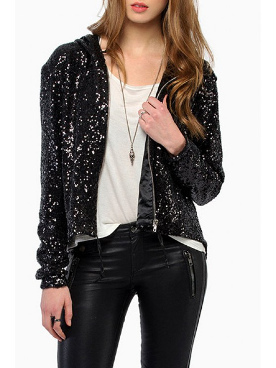 fashion Hooded Sequins High Low Backless Long Sleeve Coat - BLACK S