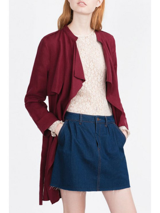 trendy Turn Down Collar Long Sleeve Self Tie Trench Coat - WINE RED S
