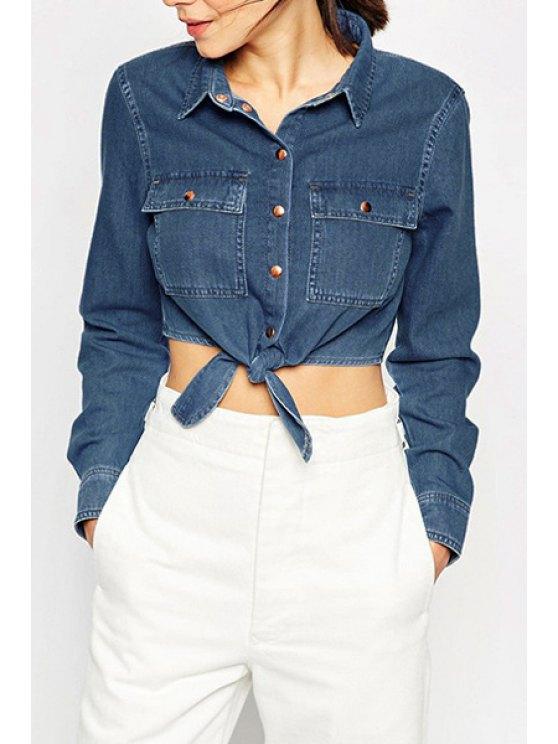 womens Bleach Wash Tie Knot Long Sleeve Crop Top - BLUE S