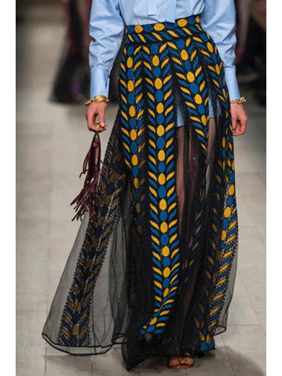online Voile See-Through Leaf Print Long Skirt - BLACK S